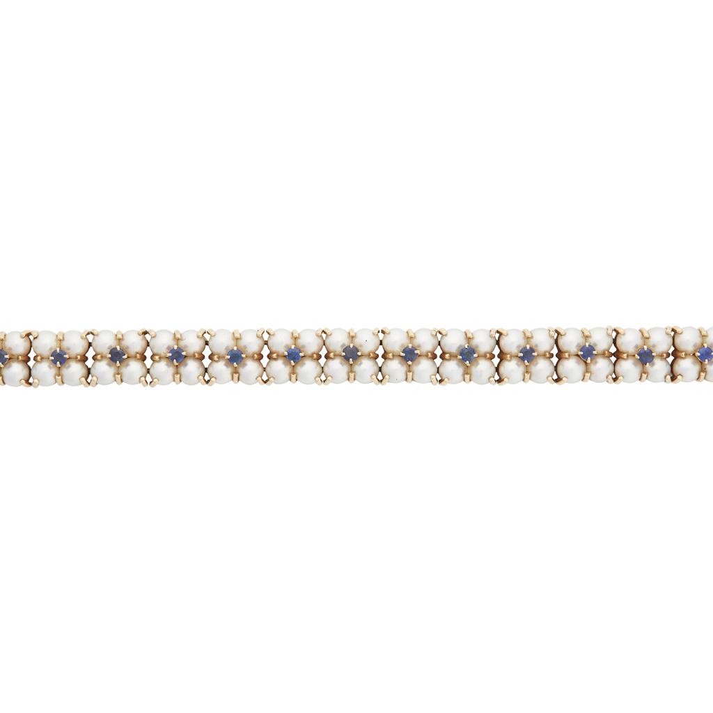 Lot 45-A pearl and sapphire set bracelet, Tiffany & Co.