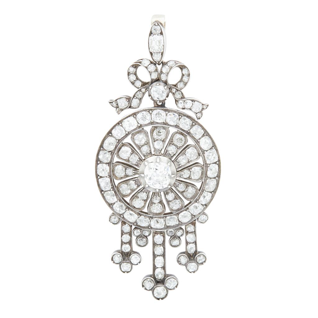 Lot 13-A Victorian diamond set pendant