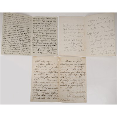 Lot 289 - CARLYLE, THOMAS; MEREDITH, CHARLES & CHARLOTTE M. YONGE, 3 LETTERS
