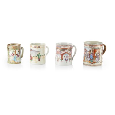 Lot 14-FIVE CHINESE EXPORT FAMILLE ROSE PORCELAIN TANKARDS