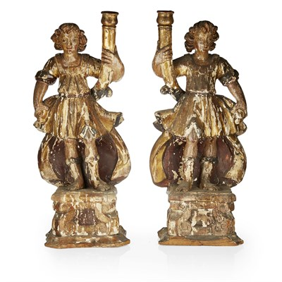 Lot 42-PAIR OF ITALIAN GILTWOOD AND POLYCHROME FIGURAL CANDLESTICKS