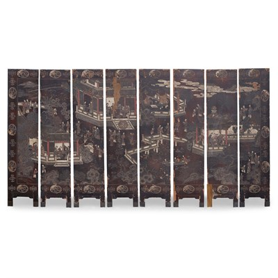 Lot 14-COROMANDEL AND LACQUER EIGHT PANEL FLOOR SCREEN