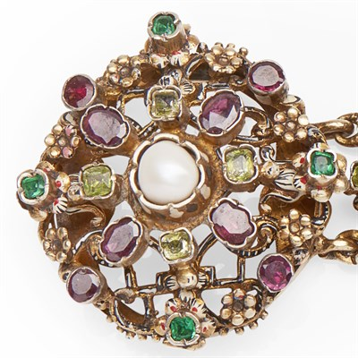 Lot 34 - A mid-19th century Austrian silver and gem set bracelet