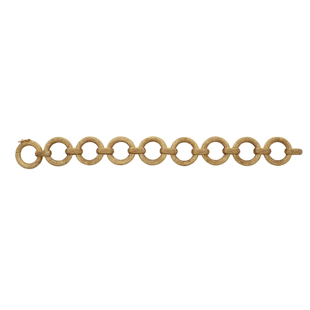 Lot 19 - A 1970s textured link 9ct gold bracelet