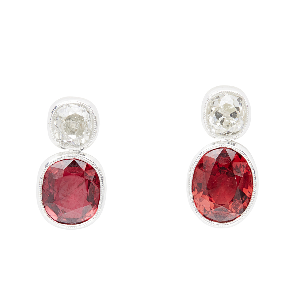Lot 92 - A pair of spinel and diamond set earrings