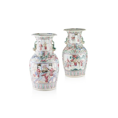 Lot 127 - PAIR OF CANTON FAMILLE ROSE VASES