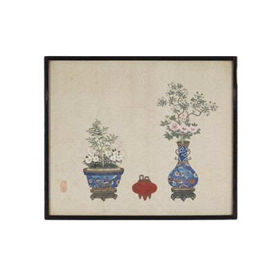 Lot 51-PAIR OF 'QING GONG' PAINTINGS