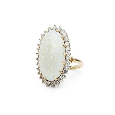 Lot 130 - An opal and diamond set cluster ring