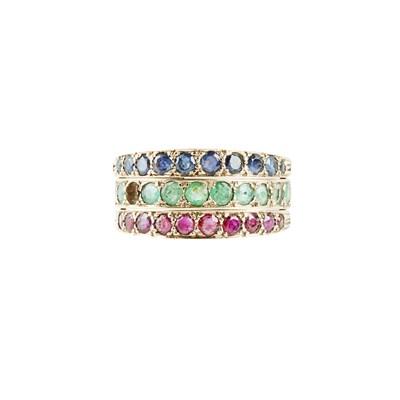 Lot 41 - A gem set swivel ring