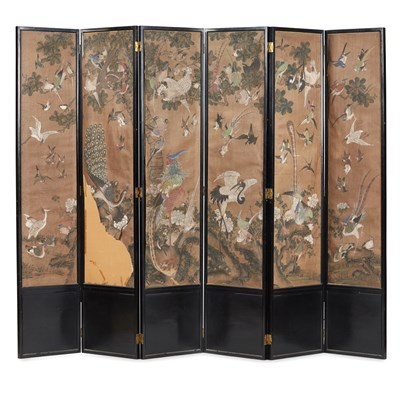Lot 3 - SIX-PANEL PAINTED 'BIRDS AND FLOWERS' SCREEN