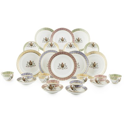 Lot 176 - ENGLISH PORCELAIN ARMORIAL PART TEA SERVICE