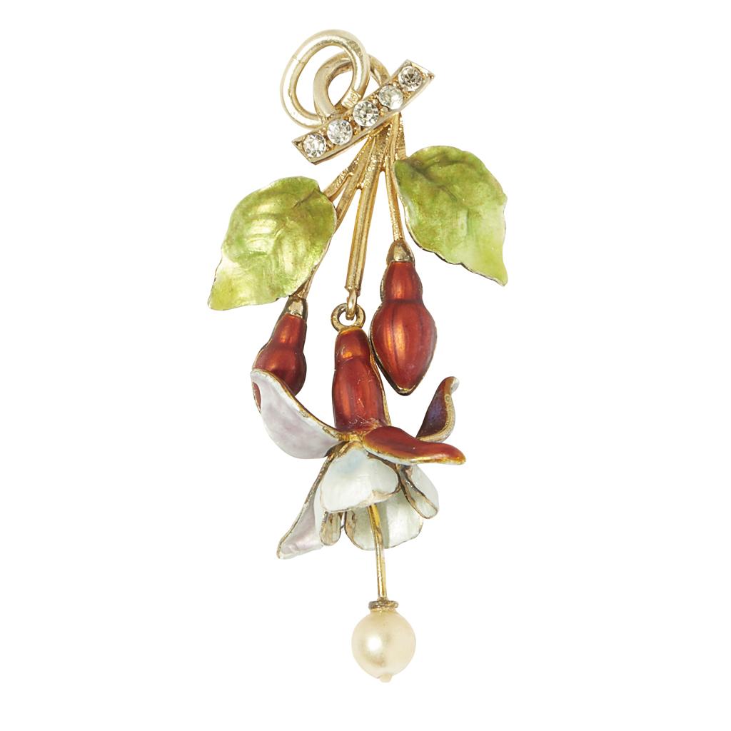 Lot 10-A gilt enamel and gem set floral pendant
