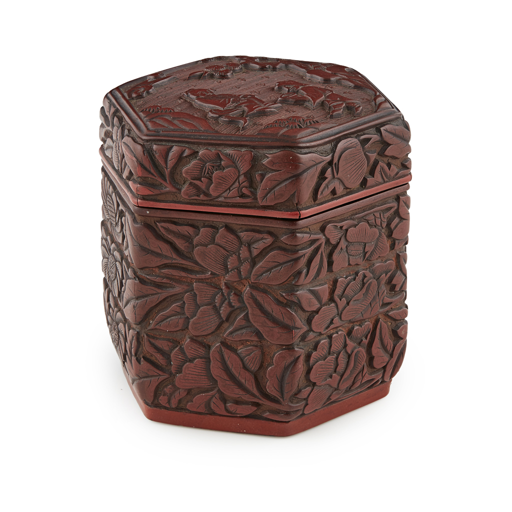 Lot 15-SMALL CARVED CINNABAR LACQUER HEXAGONAL BOX