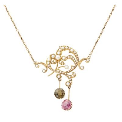 Lot 52-An Edwardian seed pearl and tourmaline set pendant
