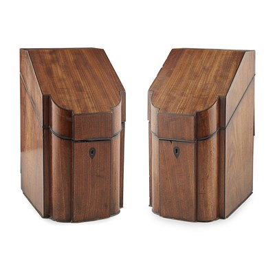 Lot 64-PAIR OF GEORGE III MAHOGANY KNIFE BOXES