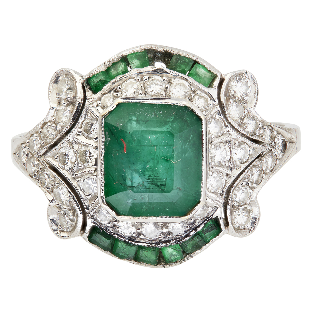 Lot 49-A Belle Époque style emerald and diamond set ring