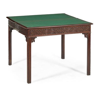 Lot 22 - GEORGE III 'CHINESE CHIPPENDALE' MAHOGANY GAMES TABLE