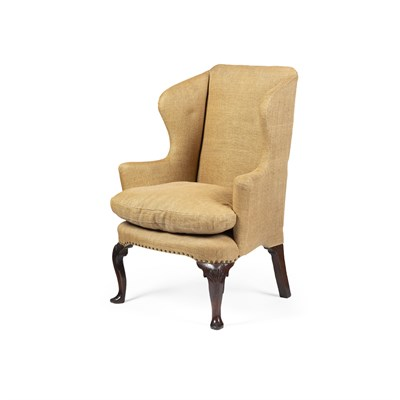 Lot 10-GEORGE II WALNUT WING ARMCHAIR