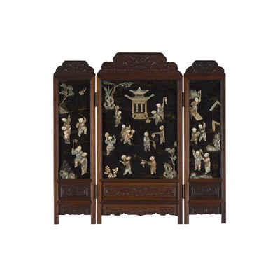 Lot 18-IVORY-INLAID THREE-FOLD WOODEN TABLE SCREEN