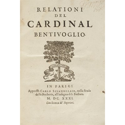 Lot 63 - 4 VOLUMES, INCLUDING, BENTIVOGLIO D'ARAGONA, CARDINAL GUIDO