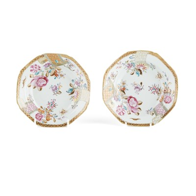 Lot 119 - PAIR OF FAMILLE ROSE OCTAGONAL DISHES