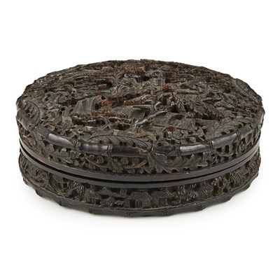 Lot 25-CARVED TORTOISESHELL CIRCULAR BOX AND COVER