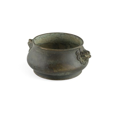 Lot 40-BRONZE TWIN-HANDLE CENSER