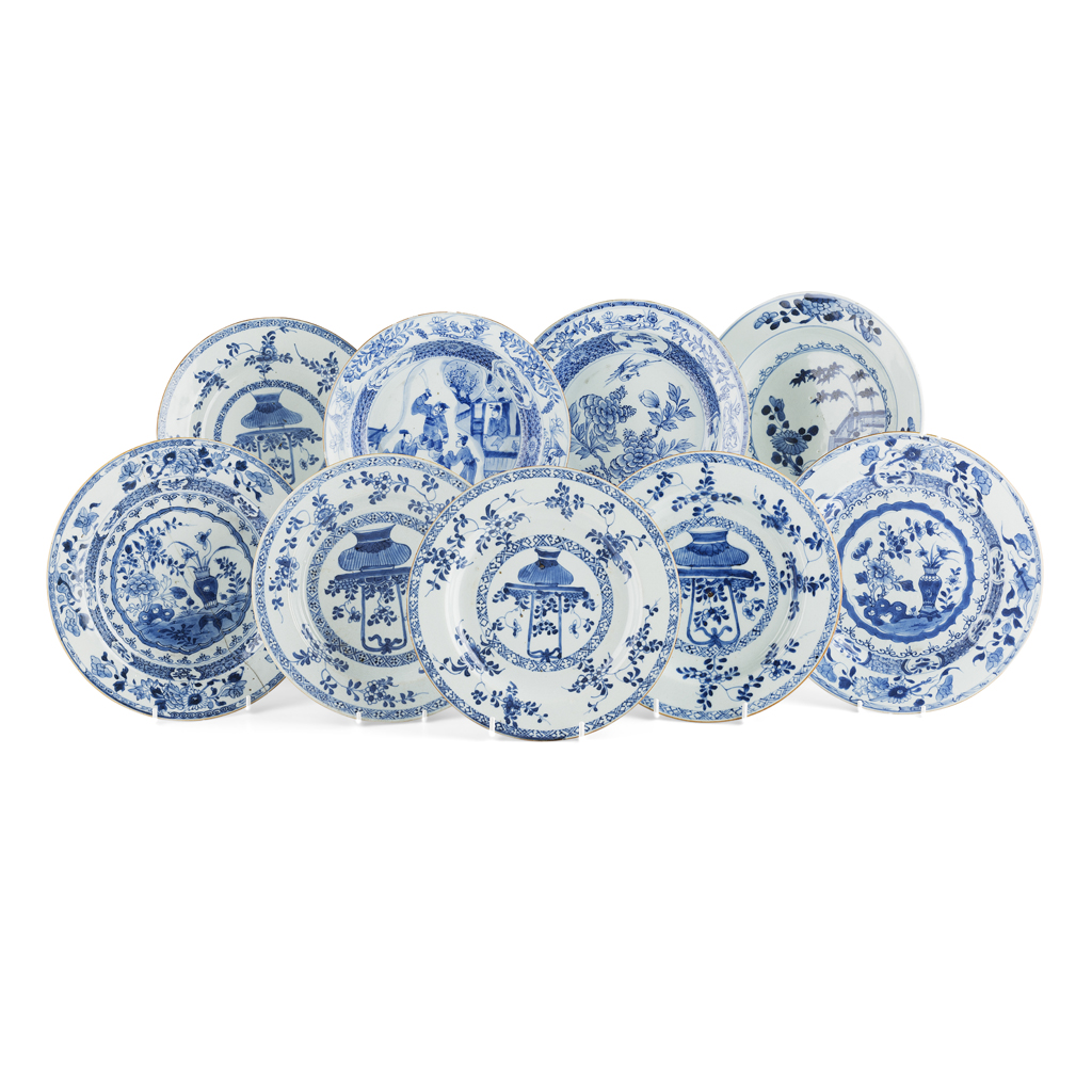 Lot 101 - COLLECTION OF NINE BLUE AND WHITE DISHES