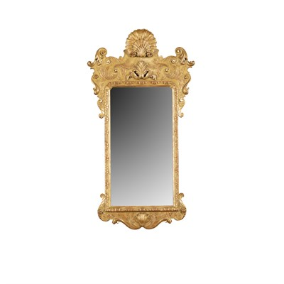 Lot 19-GEORGE II STYLE GILTWOOD MIRROR