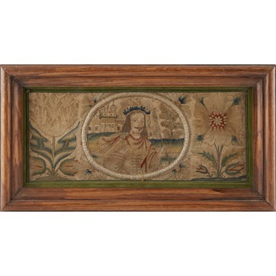 Lot 3-CHARLES II STUMPWORK AND EMBROIDERED PANEL
