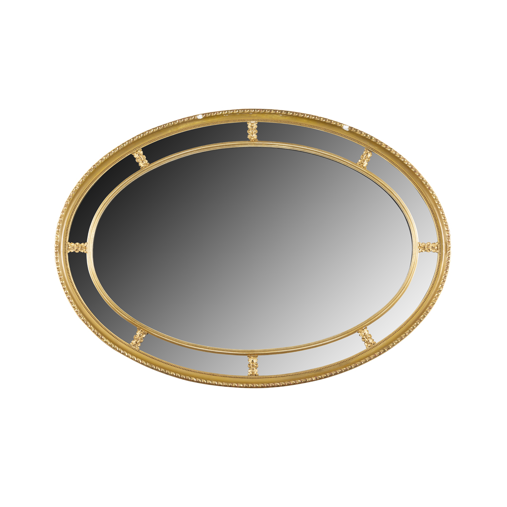 Lot 30-GILTWOOD OVAL OVERMANTEL MIRROR