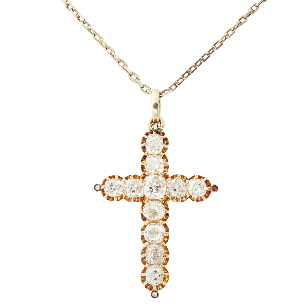 Lot 38-A Victorian diamond set cross