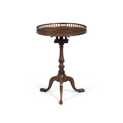 Lot 16-GEORGE III MAHOGANY TRIPOD TEA TABLE