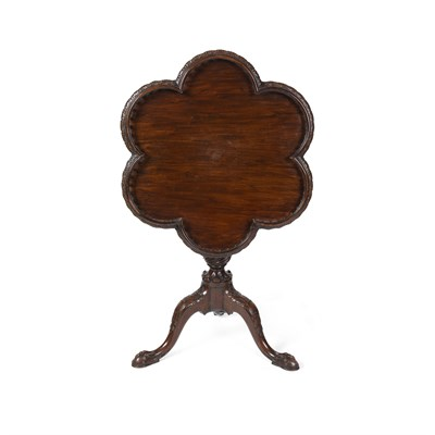 Lot 25-GEORGIAN STYLE MAHOGANY TRIPOD TEA TABLE