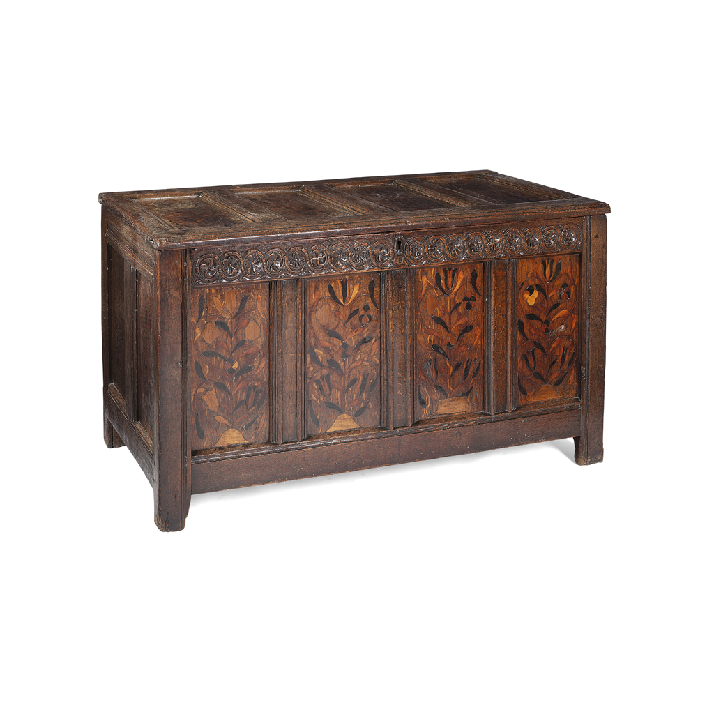 Lot 5 - CHARLES II OAK AND MARQUETRY CHEST