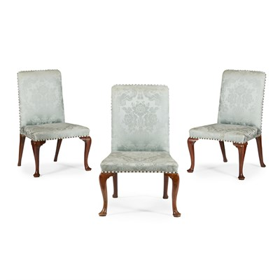 Lot 38-THREE GEORGE II UPHOLSTERED SIDE CHAIRS