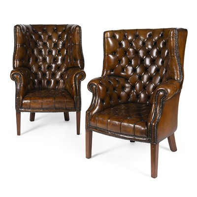 Lot 36-PAIR OF GEORGIAN STYLE BARREL-BACK LEATHER ARMCHAIRS