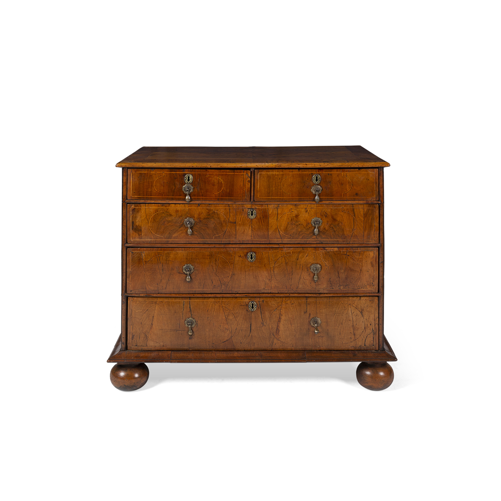Lot 11 - QUEEN ANNE WALNUT AND INLAY CHEST OF DRAWERS