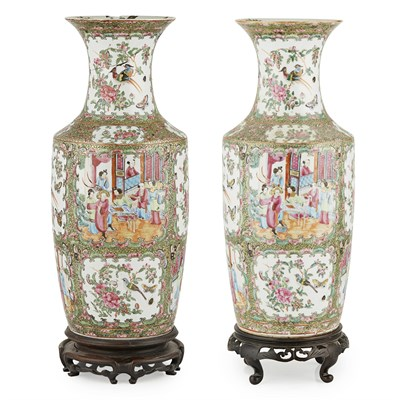 Lot 114 - PAIR OF CANTON FAMILLE ROSE VASES