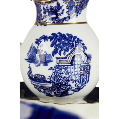 Lot 64-ENGLISH CHINOISERIE BLUE AND WHITE TEA SERVICE
