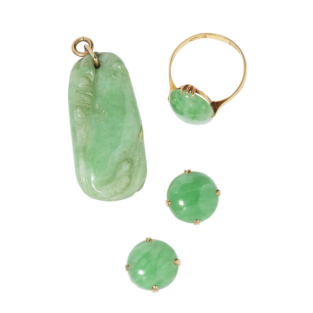 Lot 14-A collection of jade jewellery