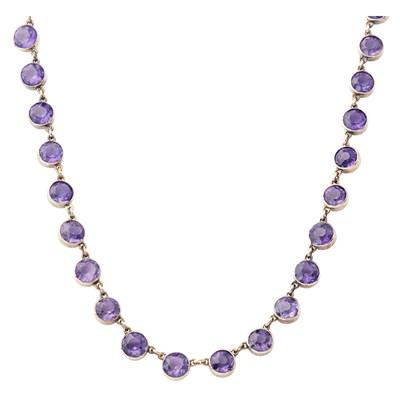 Lot 47-An amethyst set necklace