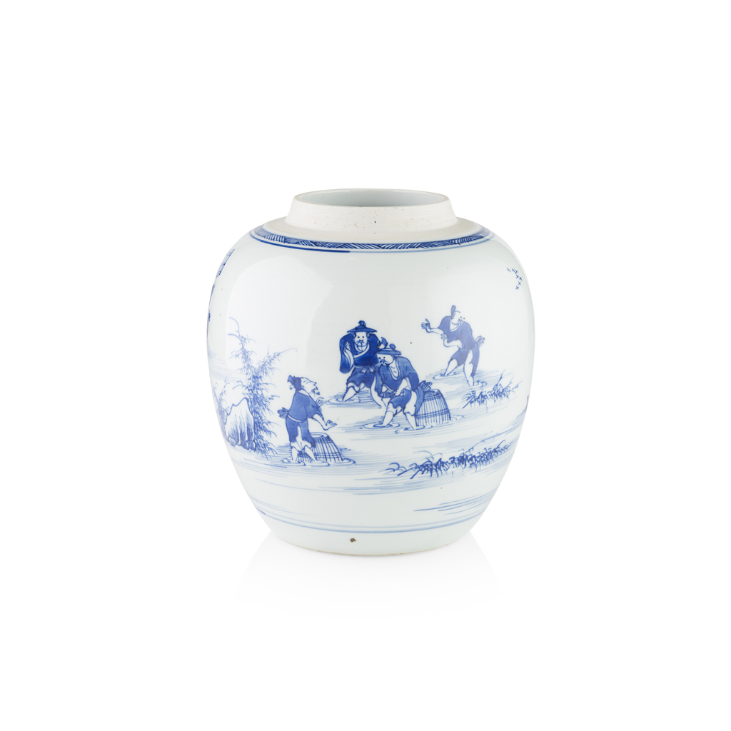 Lot 94 - BLUE AND WHITE 'FISHERMEN' GINGER JAR
