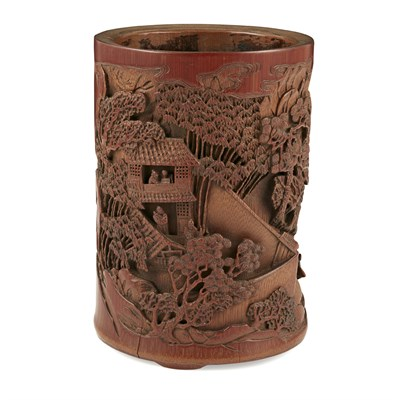 Lot 9-CARVED BAMBOO BRUSHPOT