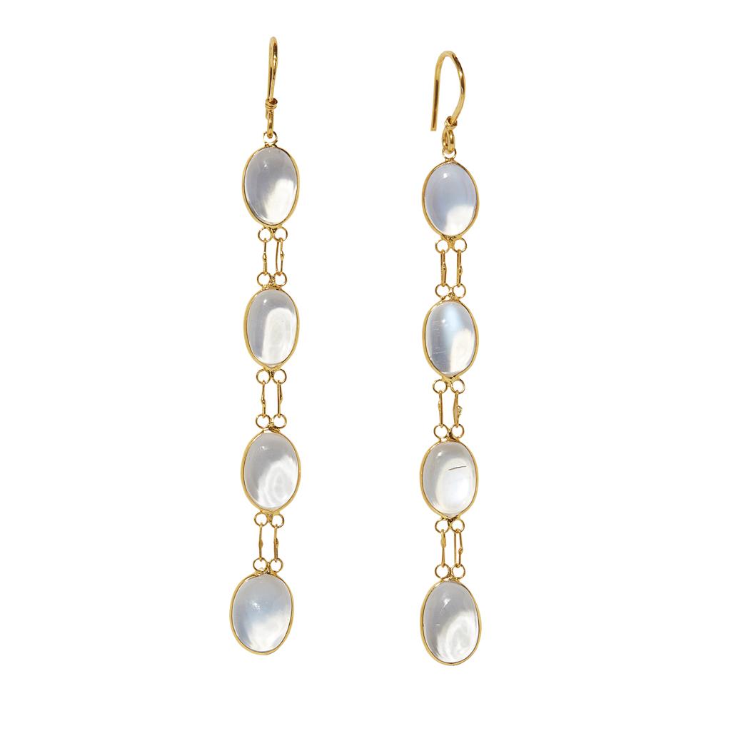 Lot 18-A pair of moonstone set pendant earrings