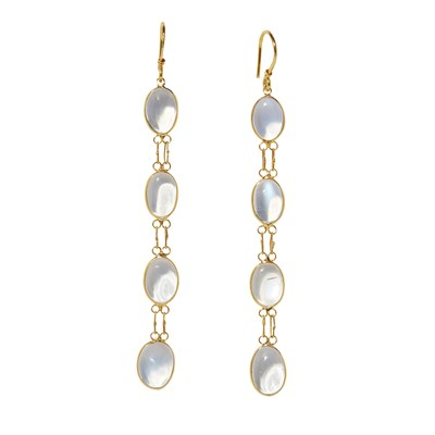 Lot 18-A pair of moonstone set pendant earrings