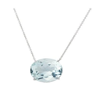 Lot 53-An aquamarine set pendant