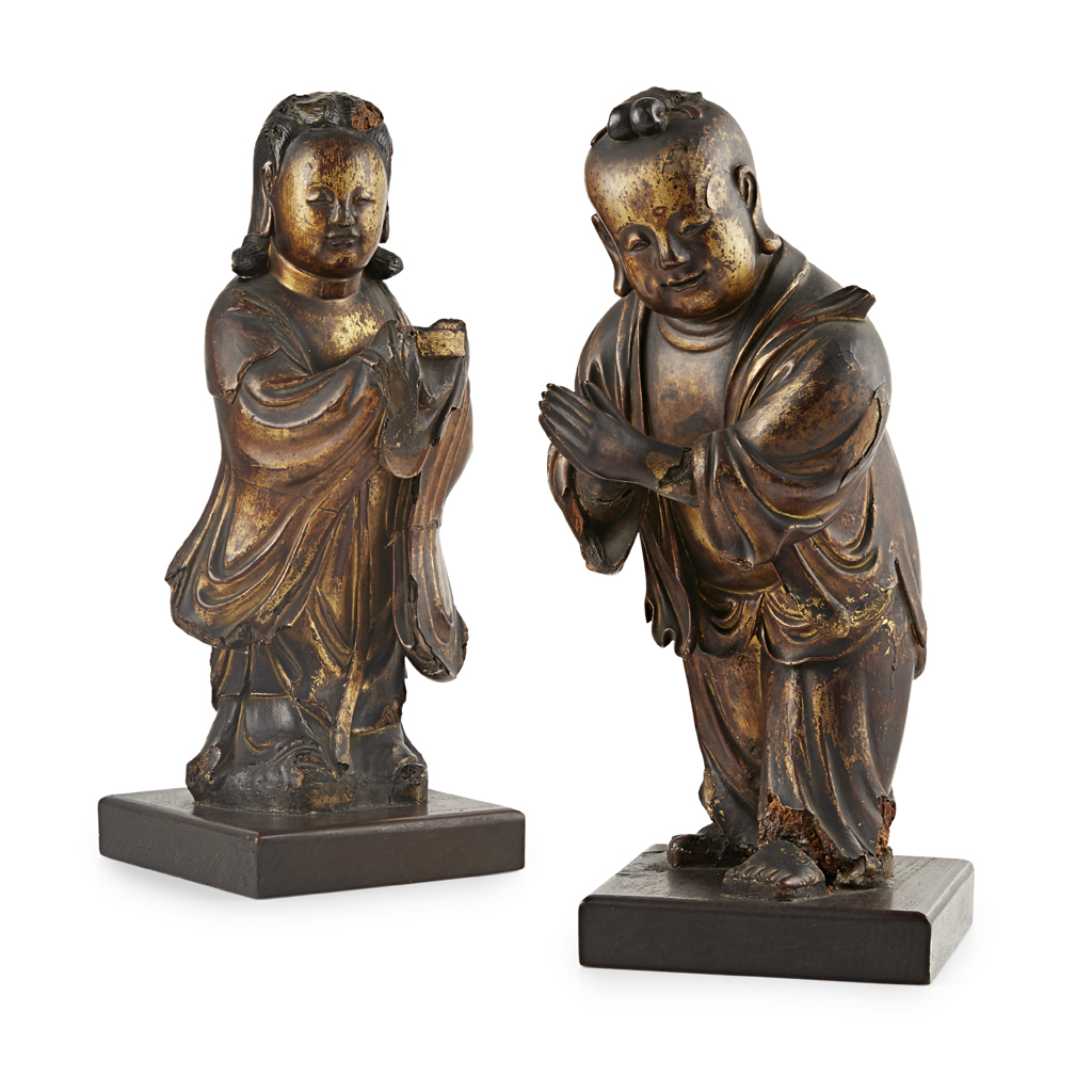 Lot 12 - LACQUERED WOODEN FIGURES OF SHANCAI AND LONGNÜ