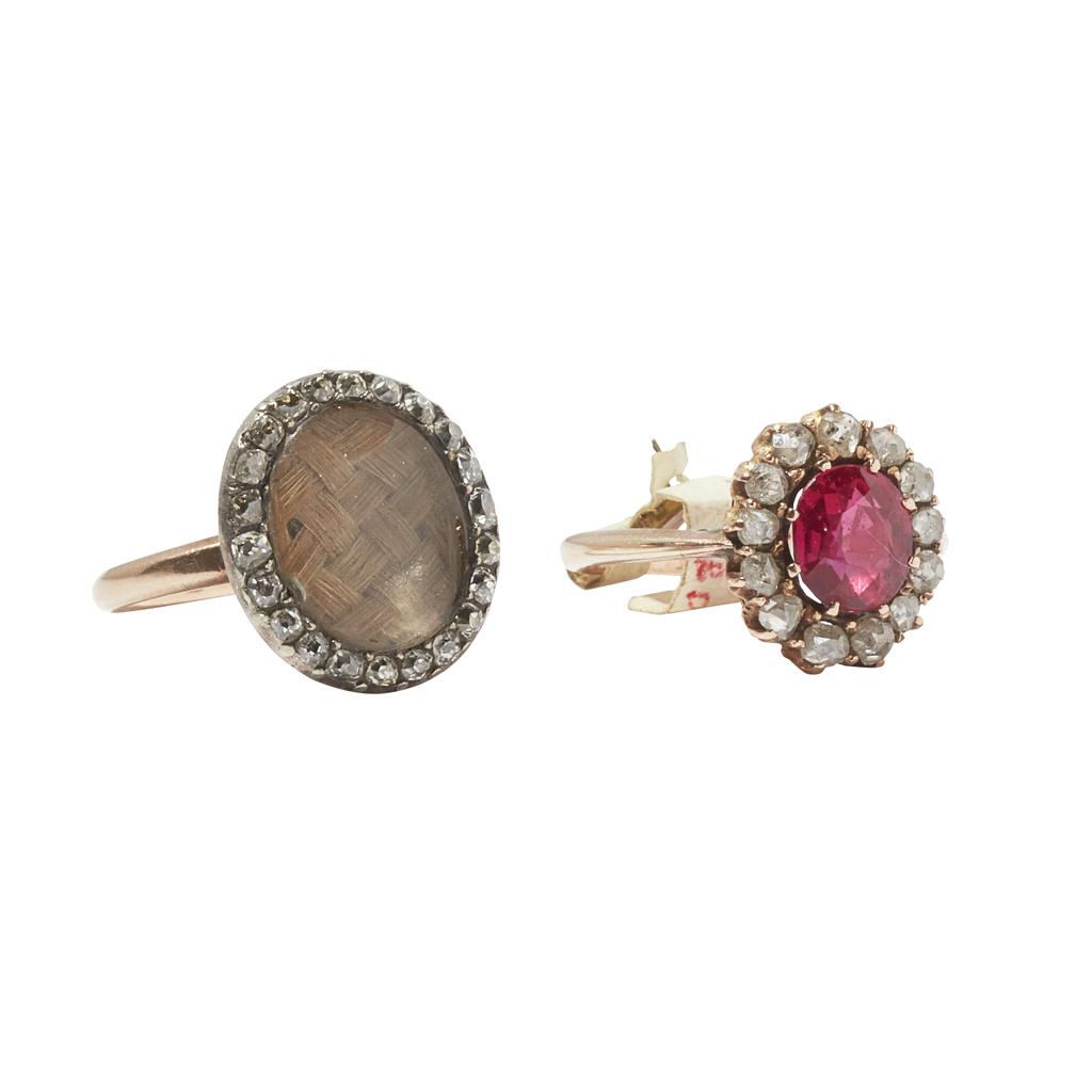 Lot 55-A diamond set momento mori ring