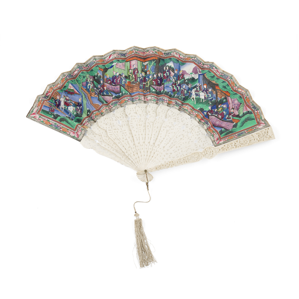Lot 10-CANTON PAINTED AND CARVED IVORY FAN